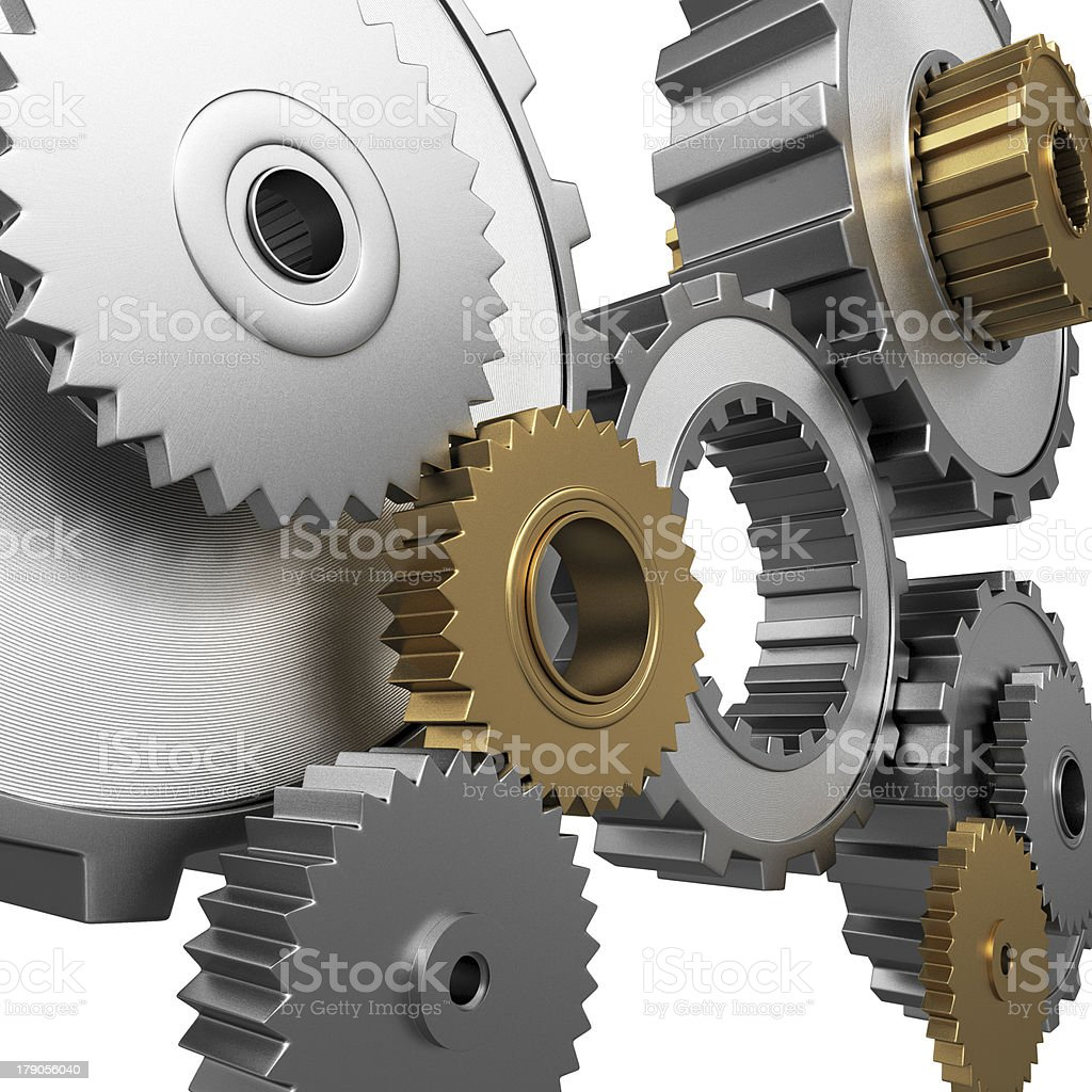isolated gears and pinions royalty-free stock photo