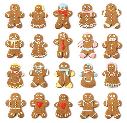 Twenty high-resolution gingerbread cookie people on pure white with slight shadow. Faces and expressions vary, some are odd and unusual, some are comical, and some are traditional.  All are delicious.