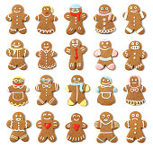 Isolated Gingerbread People Collection Assortment