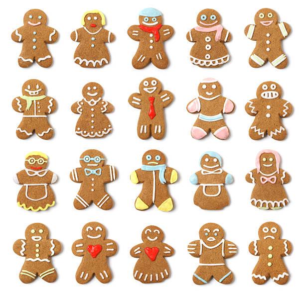 colección conjunto aislado pueblo de jengibre - gingerbread man fotografías e imágenes de stock