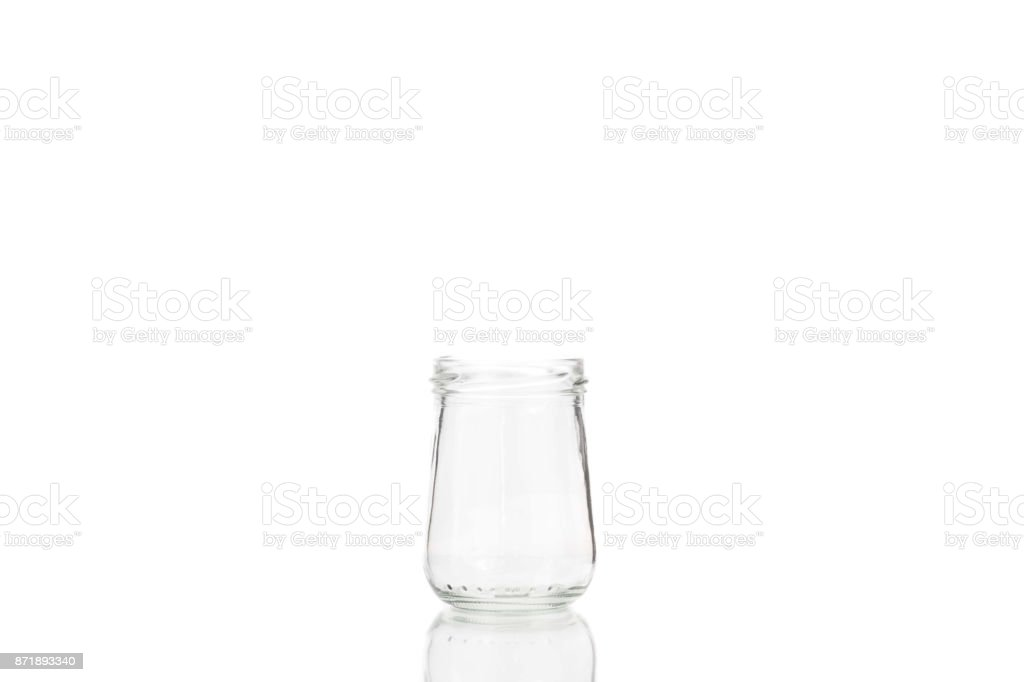 Isolated glass jar on a white background stock photo