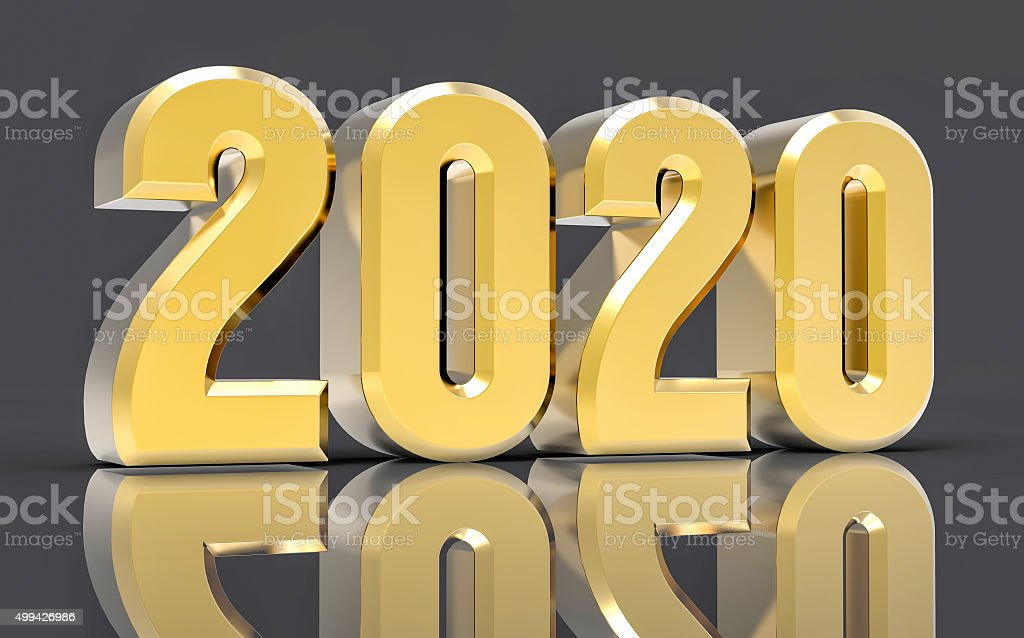 3D Isolated Gold 2020 Year stock photo