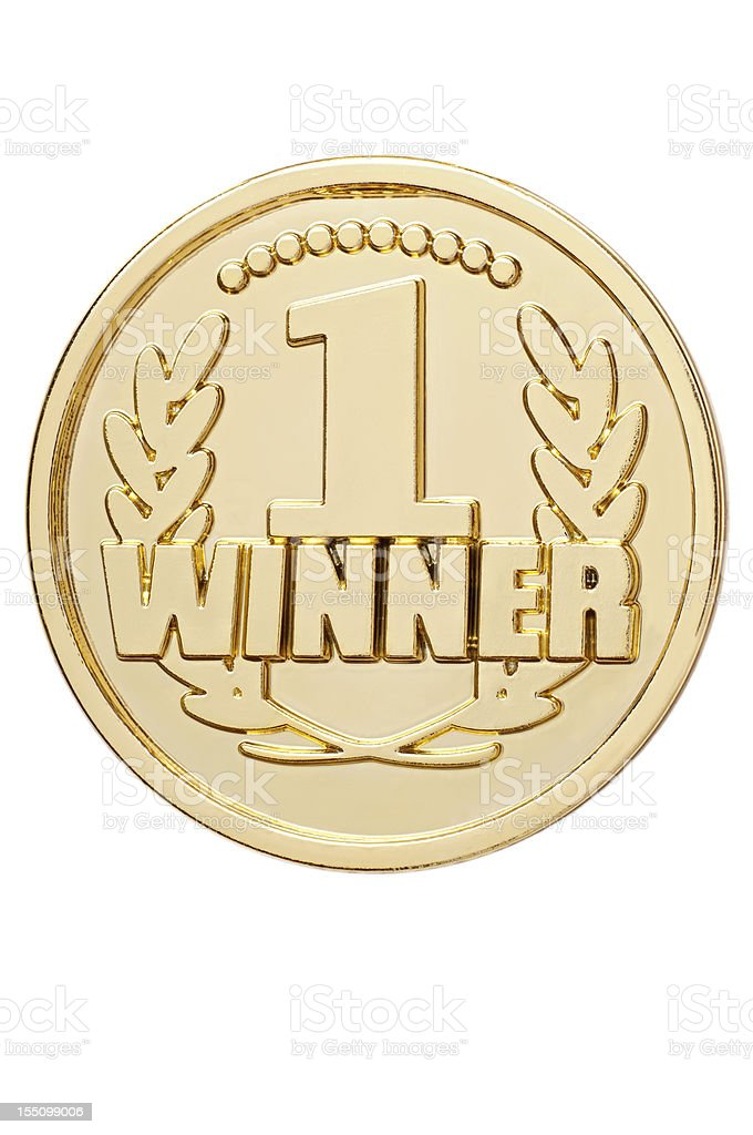 Isolated gold medal with number 1 winner stock photo