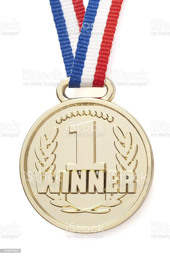 Isolated gold medal with ribbon stock photo
