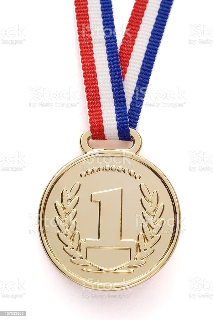Isolated gold medal with ribbon royalty-free stock photo