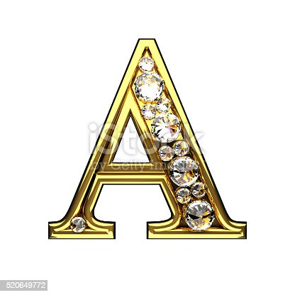 istock isolated golden A letters with diamonds on white 520649772
