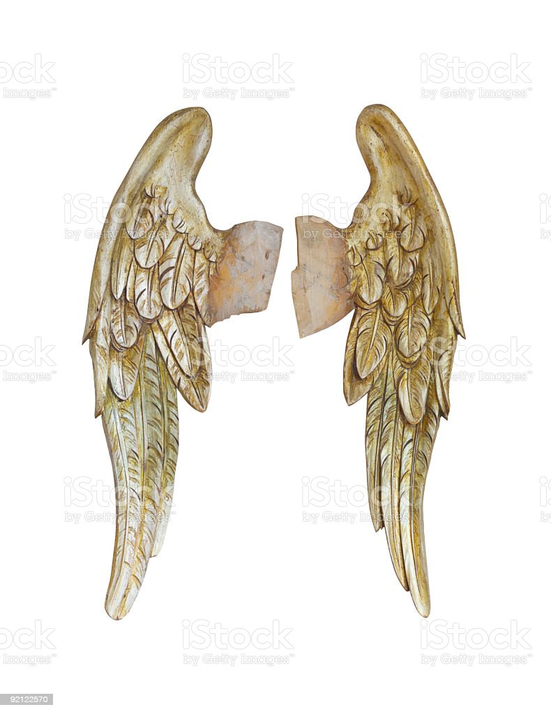 Isolated golden Angel wings stock photo