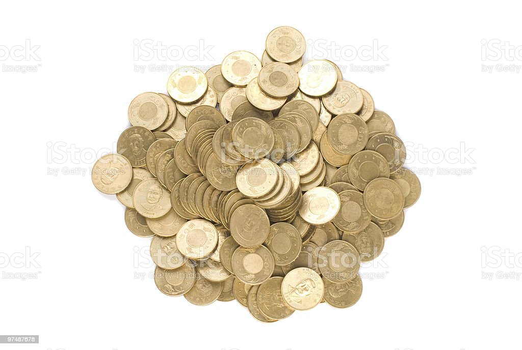 Isolated golden coin stack royalty-free stock photo