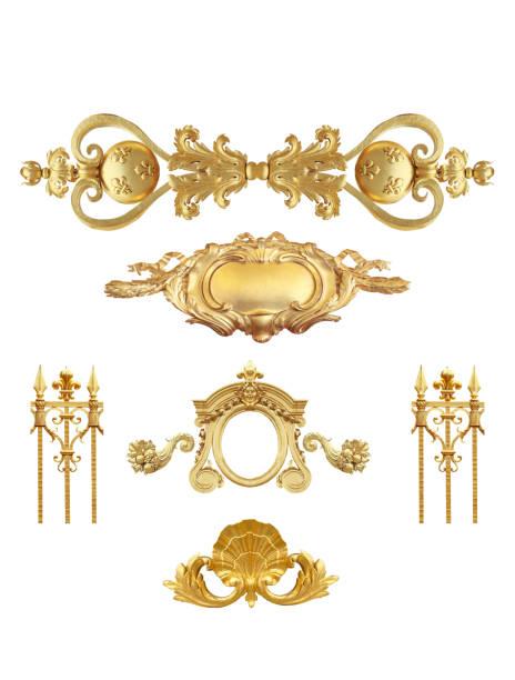 goldene details frankreich isoliert - engelportal stock-fotos und bilder