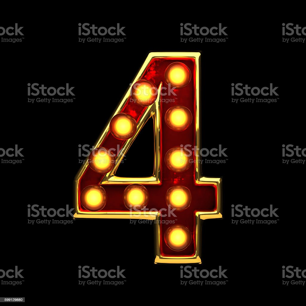 4 isolated golden letter with lights on black. 3d illustration stock photo
