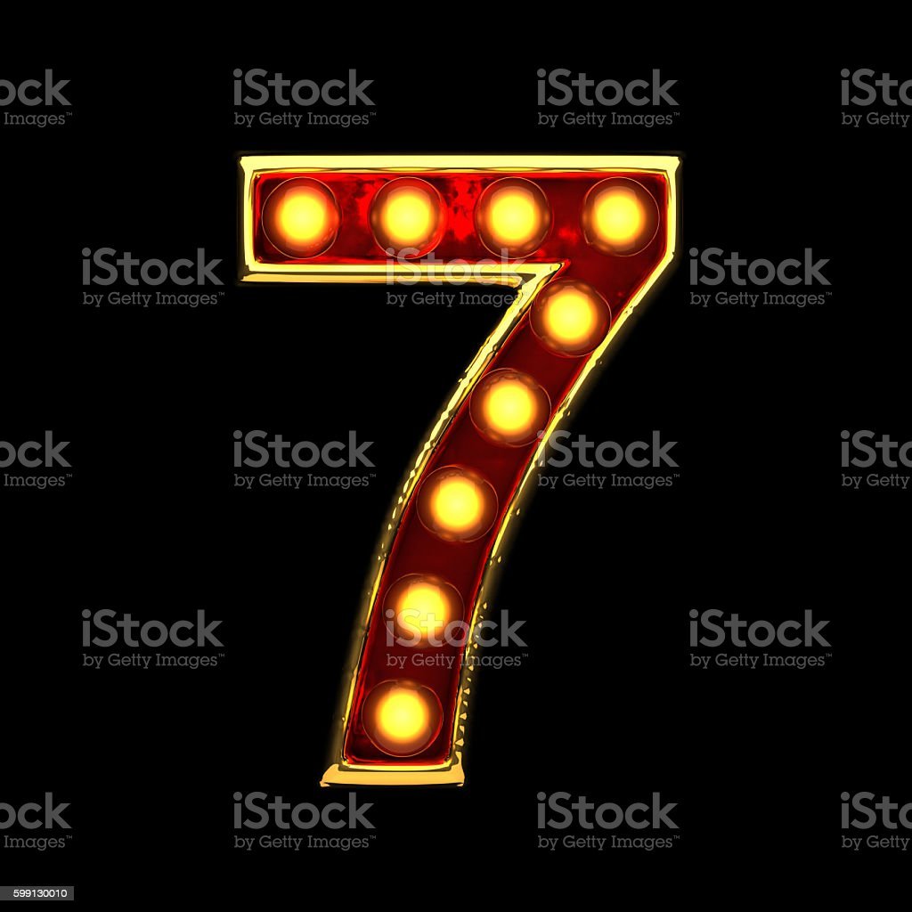 7 isolated golden letter with lights on black. 3d illustration stock photo