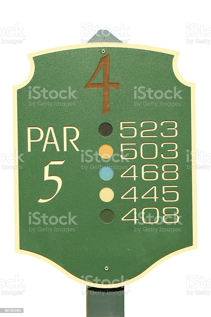Isolated golf par 5 sign stock photo
