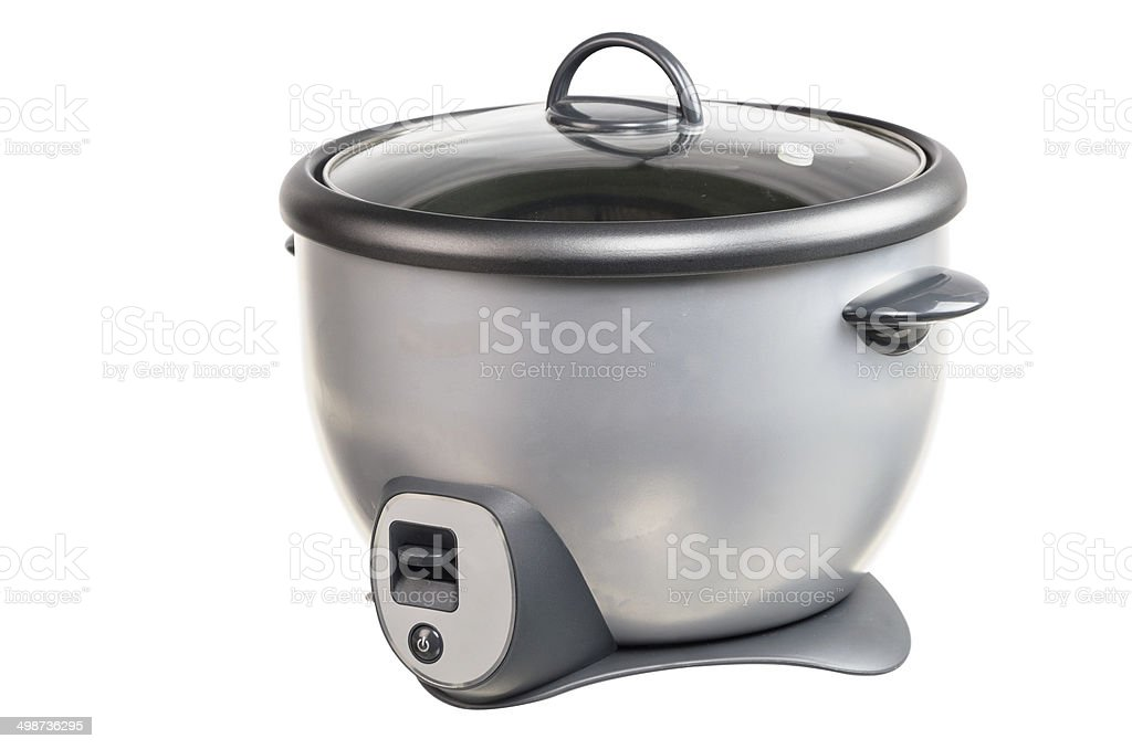 Isolated Gray Rice Cooker with white background stock photo
