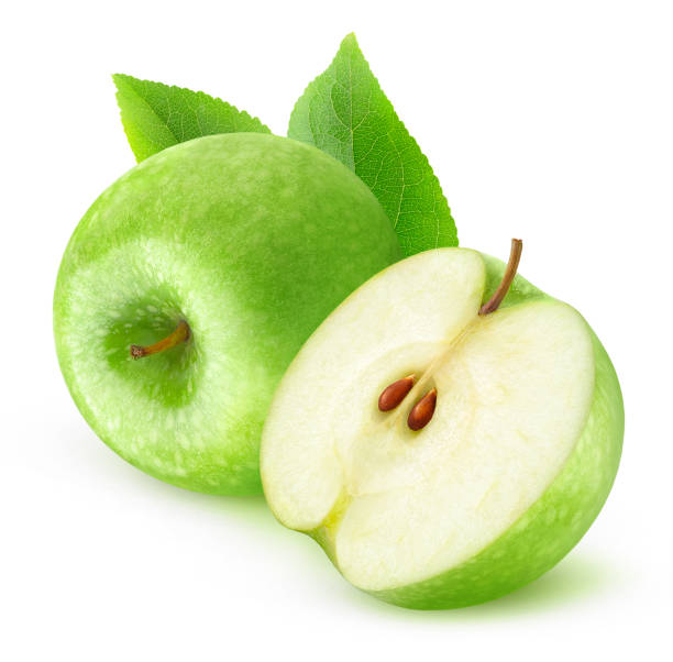 Isolated green apples Isolated fruits. Cut green apples isolated on white background with clipping path granny smith apple stock pictures, royalty-free photos & images