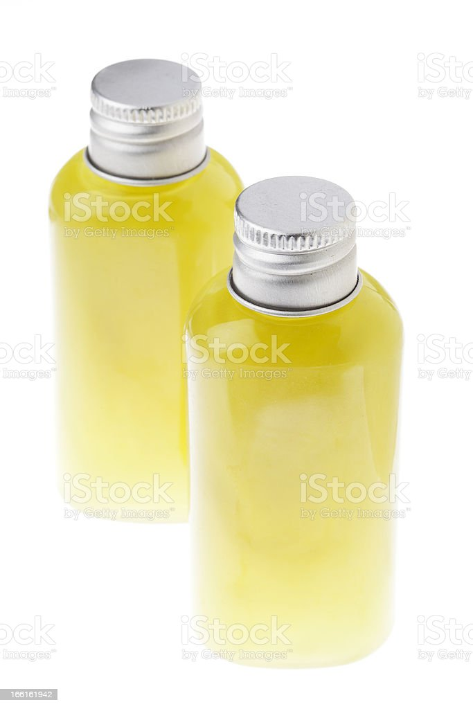 Isolated Green Gel Bottles - High angle royalty-free stock photo