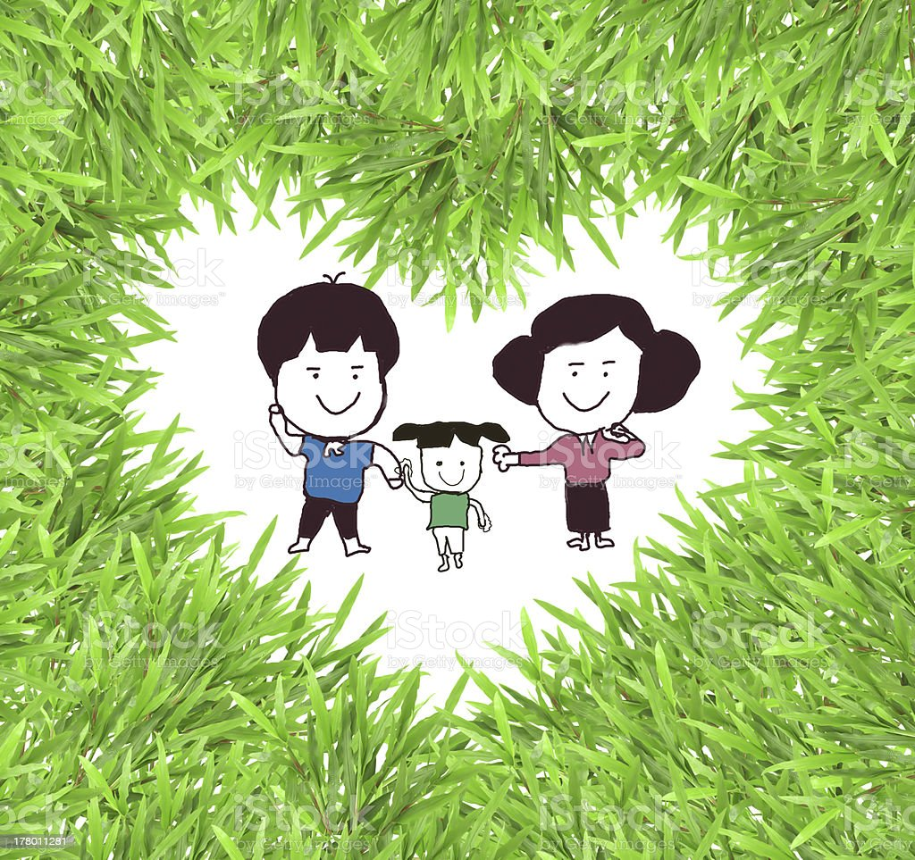 isolated green heart grass photo frame with     family royalty-free stock photo