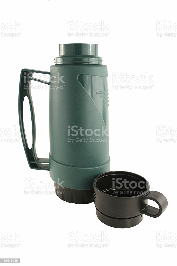 Isolated Green  thermos bottle royalty-free stock photo