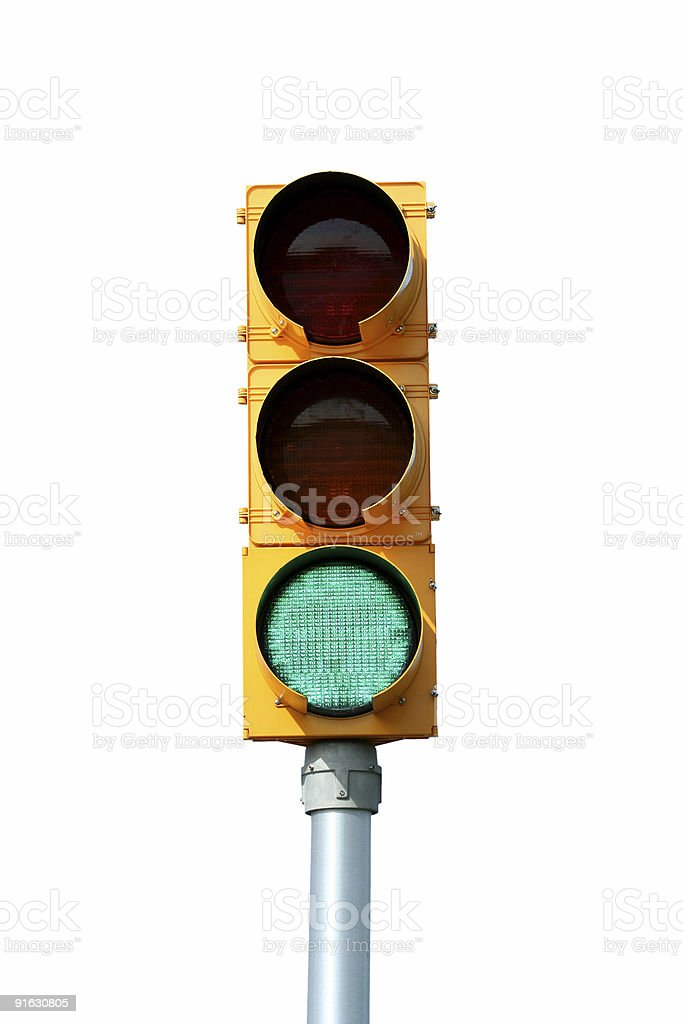 Isolated Green traffic signal light stock photo