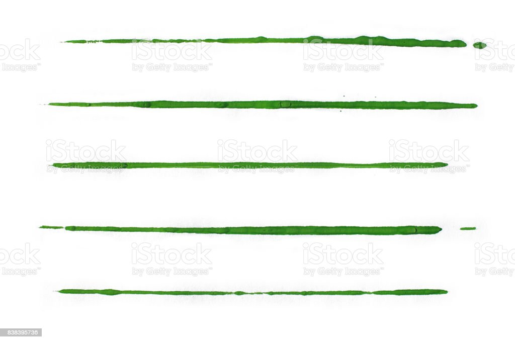 Isolated green watercolor lines stock photo
