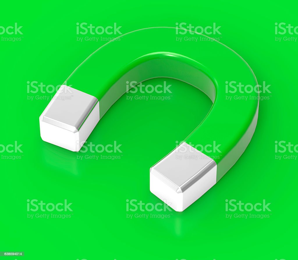 3D Isolated Green White Magnet Attraction Illustration stock photo