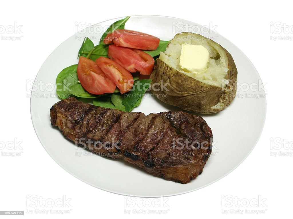 Isolated Grilled Steak dinner royalty-free stock photo