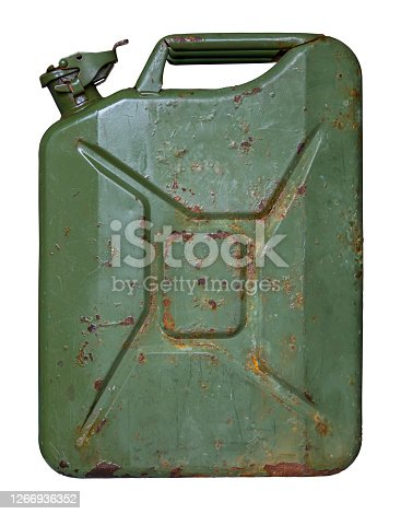 An Old Grungy Oil Or Gas (Petrol) Jerry Can Or Container On A White Background
