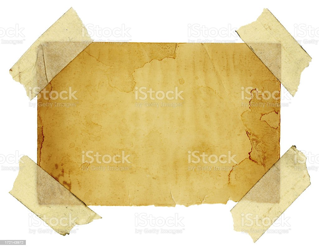 Isolated Grungy Taped Up Paper (with Clipping Path) stock photo