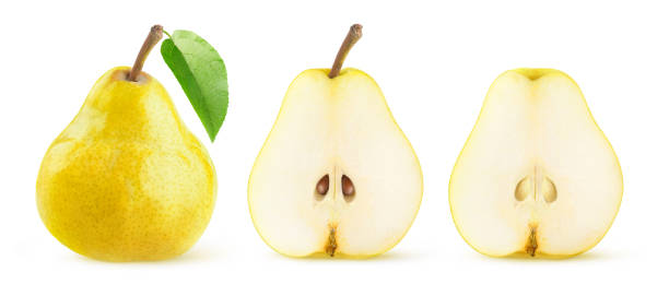 Isolated halved yellow pears in a row stock photo