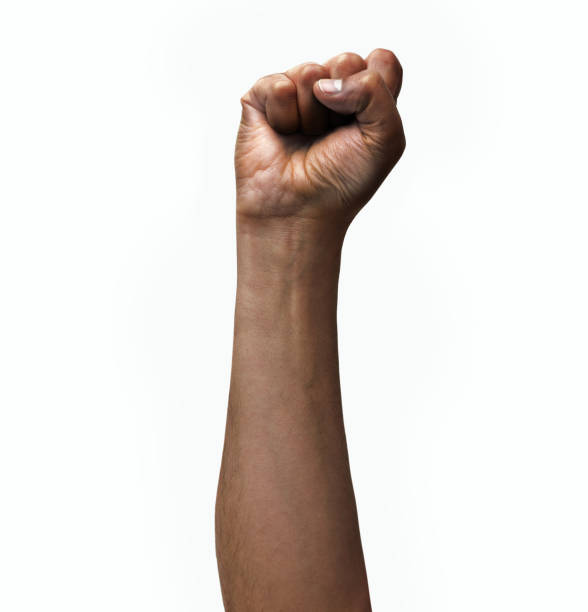 isolated hand Man fist up a white isolated background black ethnicity stock pictures, royalty-free photos & images