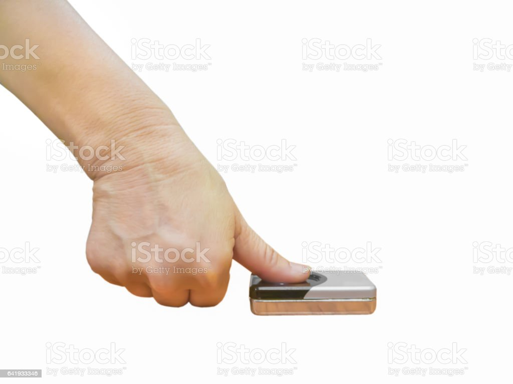 Isolated hand scanprint time record stock photo