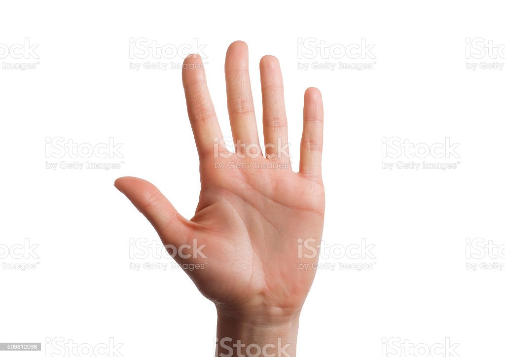 Isolated hand shows the number five. stock photo