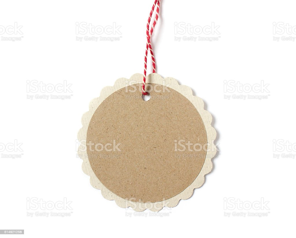 isolated hanging paper gift tag in round shape stock photo more