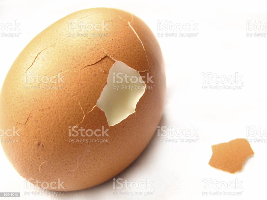 isolated hard boiled egg and shell royalty-free stock photo