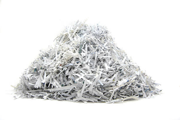 isolated heap of shredded paper - shredded paper stock photos and pictures