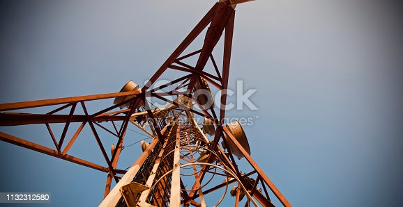 Isolated high metallic mobile tower unique photo