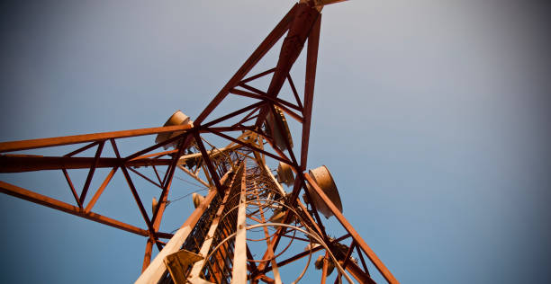Isolated high metallic mobile tower unique photo stock photo