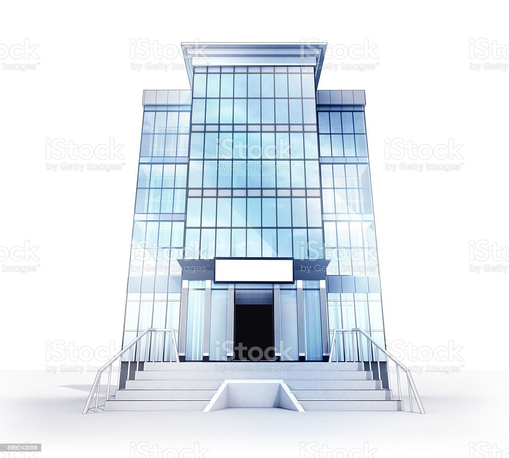 glass facade design office building. Isolated High Office Building Glass Facade Concept Royalty-free Stock Photo Design