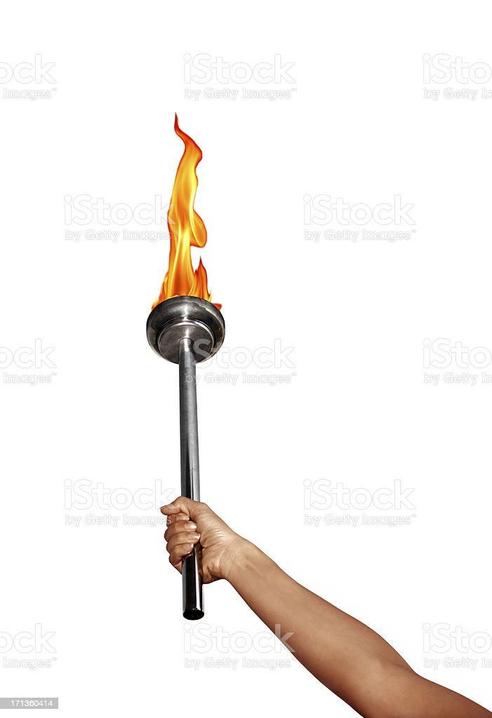 isolated holding flaming torch over white stock photo
