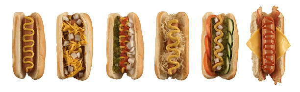 isolated hot dog collection - hot dog stock pictures, royalty-free photos & images