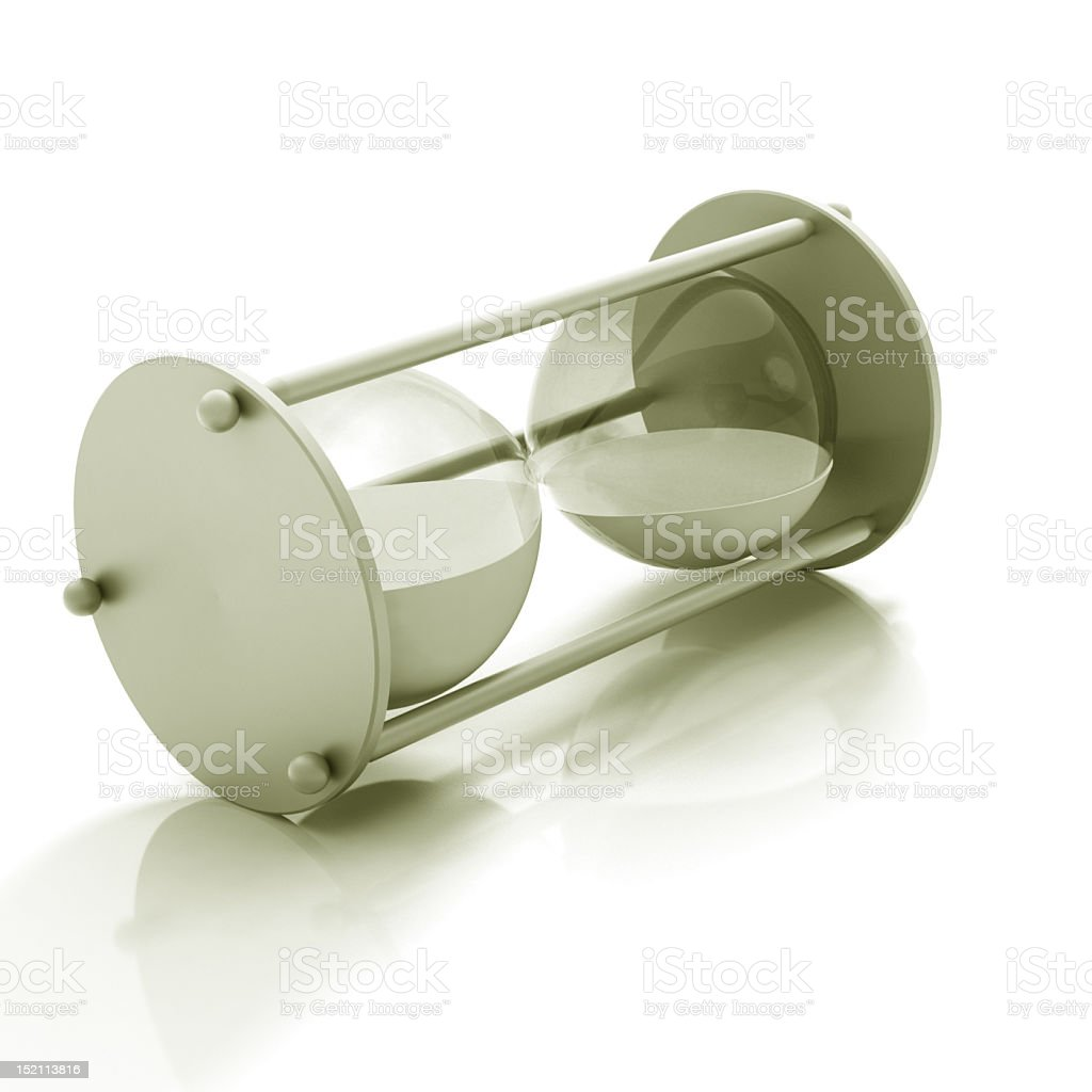 Isolated hourglass stopped and turned onto its side stock photo