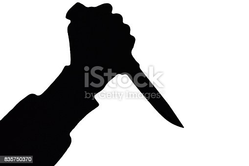 istock Isolated human hand with killing knife silhouette (shadow) on white background. 835750370