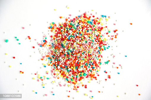 Colorful confectionary on a white surface