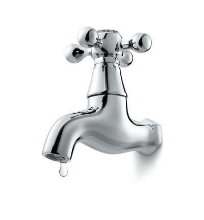 leaking water tap isolated on white background