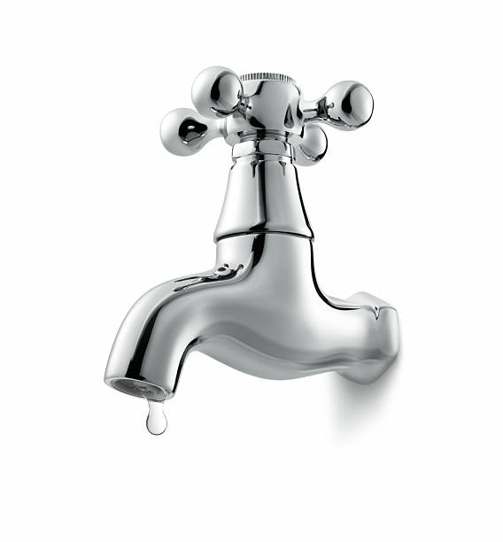 Isolated illustration of a metal faucet dripping water stock photo