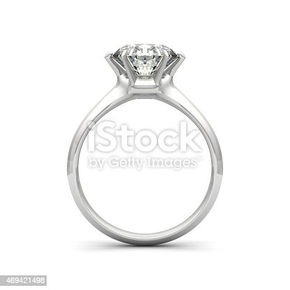 Realistic 3D render of  diamond ring, isolated on white background. Very detailed and high resolution. Ring is designed from scratch, original design. Side view.