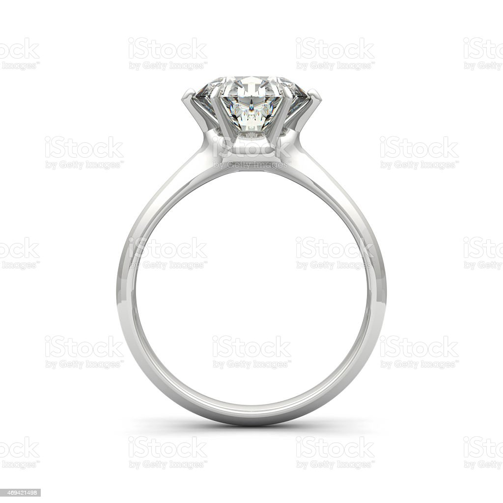 Isolated image of a diamond ring on a white background stock photo