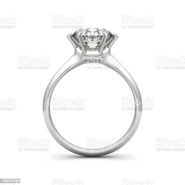 Isolated Image Of A Diamond Ring On A White Background Stockfoto en meer beelden van 2015