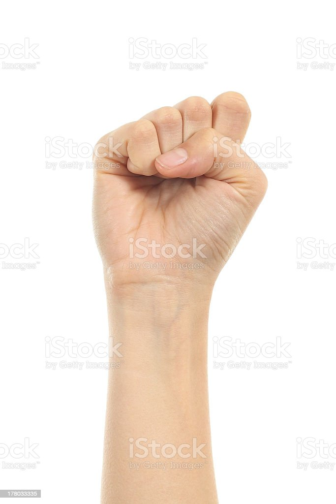 Isolated image of a fist on a white background stock photo