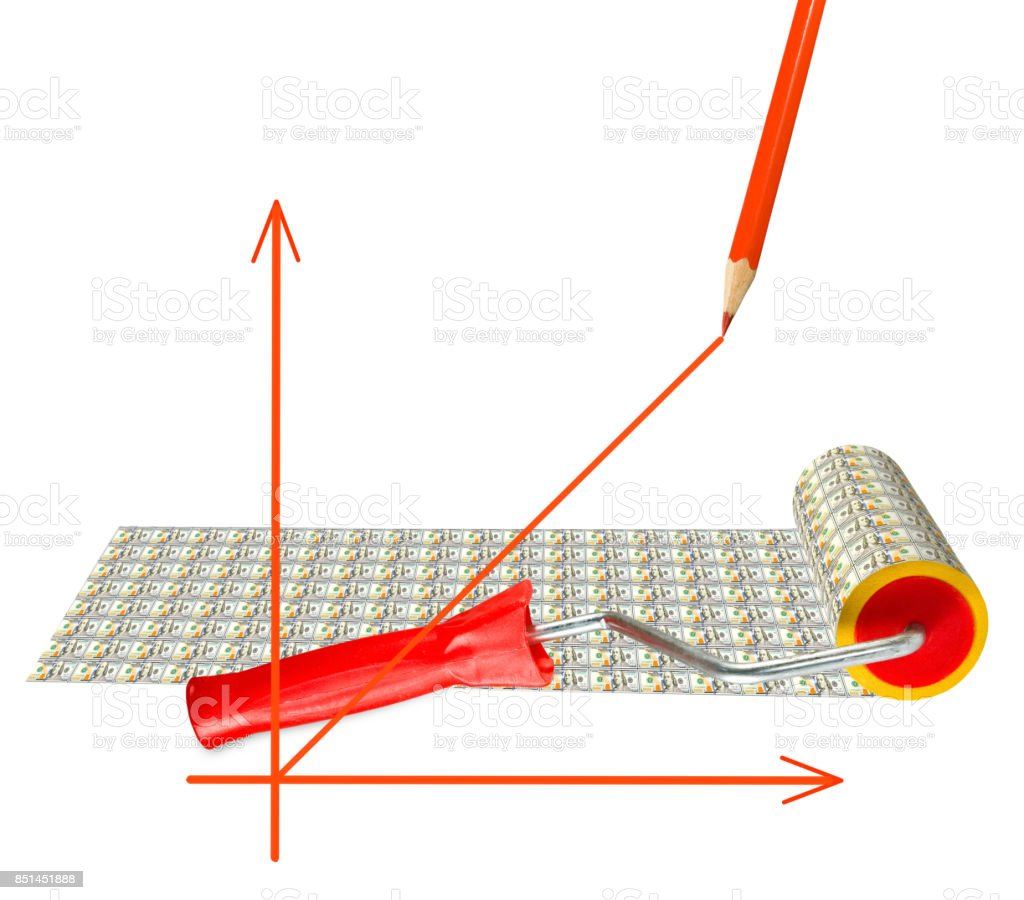 Isolated image of a graph, the roller and banknotes stock photo