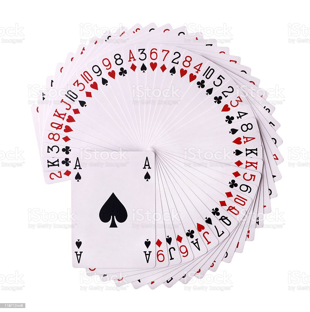 Isolated image of a pack of playing cards spread out openly stock photo